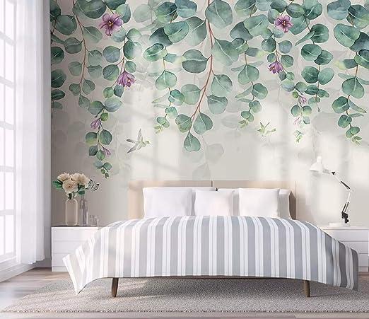Papier Peint 3D Minimalisme Feuilles Fleurs Papillons ...