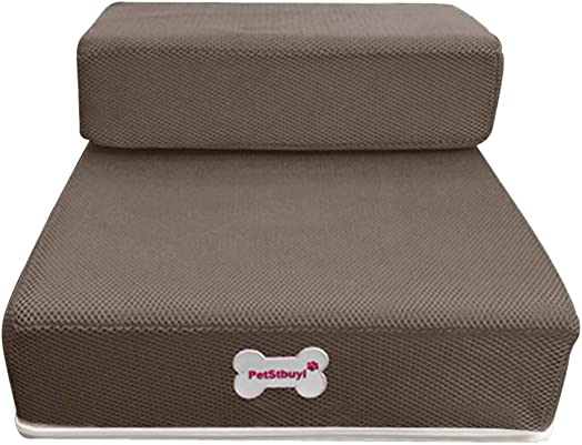 Pet Stairs – Dual Steps Non-Slip Breathable Mesh Foldable Washable Detachable Pet Bed Stairs Dog Ramp for Cat Dog Hold Up to 200 Pounds Brown, 2 Steps Ladder