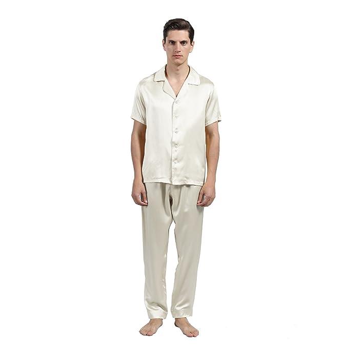 LULUSILK Conjunto de Pijama Hombre de Seda 22 Momme Manga Corta con Pantalones sin Bolsillo,