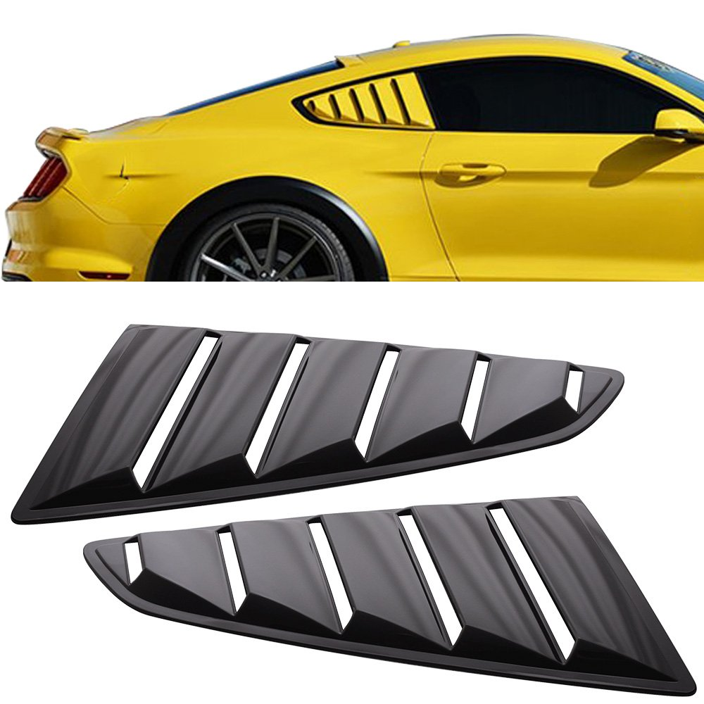 Window Louver Fit For 2015-2018 Ford Mustang | OE Style Unpainted Black PP Side Louver Cover by IKON MOTORSPORTS | 2016 2017 Quarter Side Panel coupe 2-door 2dr