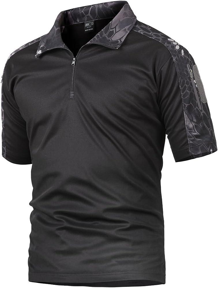 Camisa de Combate para Hombres Caza táctica Militar Polo de Manga Corta Held Airsoft Camuflaje Camiseta Uniforme táctico Ropa Deportes al Aire Libre para Multicam Pitón Negro Large: Amazon.es: Ropa y accesorios