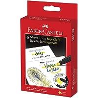 Caneta Marca Texto Gel, Faber-Castell, SuperSoft, 155707, Amarelo, 6 Unidades