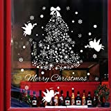 coffee shop window decal - SWORNA Holiday Series SN-62 Merry Christmas Tree Angel Snowflakes Removable Vinyl DIY Wall Window Door Mural Decal Sticker for Retail Store/Coffee House/Restaurant/Supermarket/Dress Shop 44