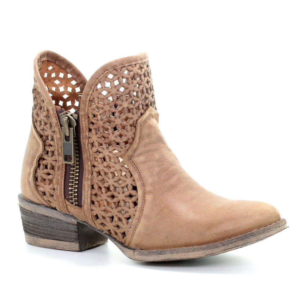 CORRAL Women's Circle G Camel Cut-Out Short Boot Round Toe - Q5020 B078HTCJY4 6 M US|Camel