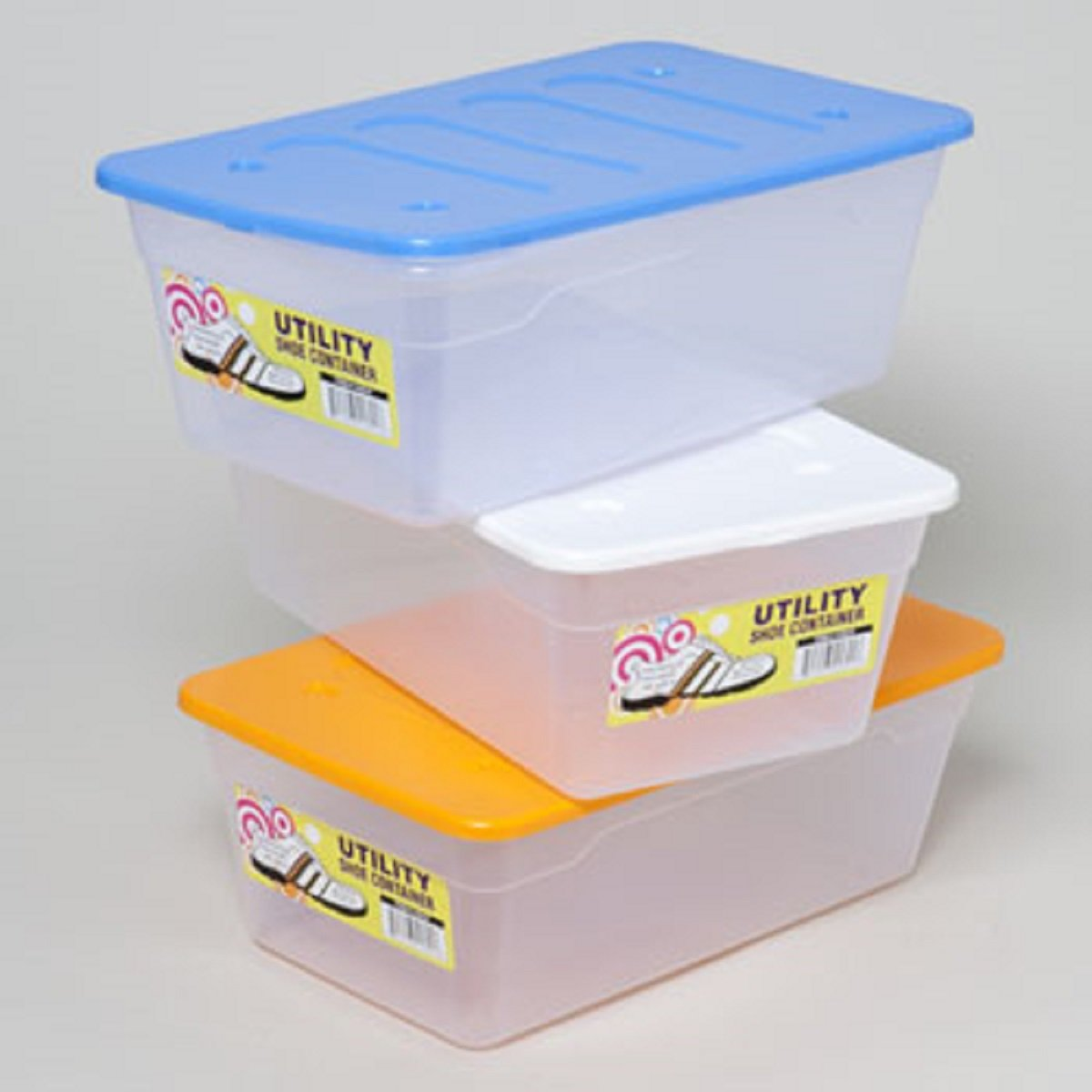 Case Pack of 48 SHOE BOX 13 X 7.75 X 4.5 6 QT CLEAR BOTTOM//4 COLOR LIDS IN PDQ