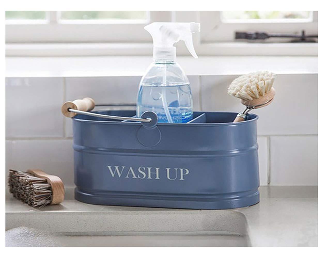 Kitchen Sink Blue Enamel Washing Up Sink Tidy Shabby Chic