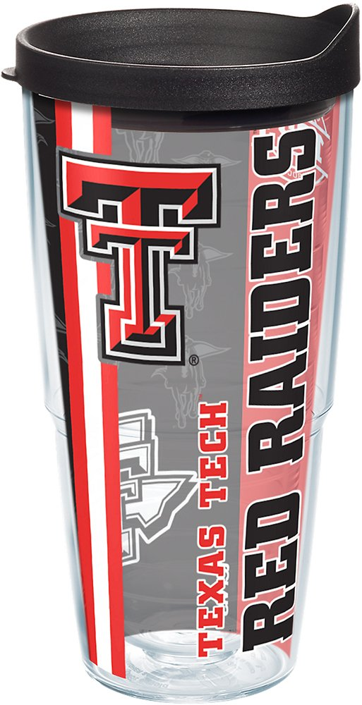 Tervis 1221299 Texas Tech Red Raiders College Pride Tumbler with Wrap and Black Lid 24oz Clear