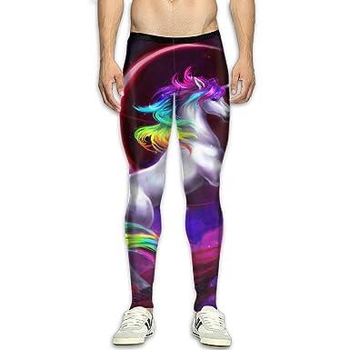 a92d3c0d5c592 Amazon.com: Men¡¯s Compression Neon Rainbow Unicorn Pants Baselayer Running  Tights 3D Print Fitness Sports Leggings: Clothing