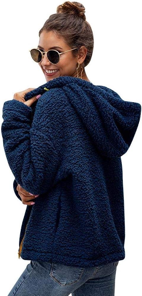 Womens Casual Fleece Hoodies Fuzzy Sweatshirt Outerwea Open Front Coat with Pockets Thick Zipper Hood Coat