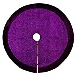 "50""Christmas Tree Skirt–Decorative Christmas Tree Skirt for Christmas & Holiday/ Sequined Purple Cloth with velvet Border (Three Layer Construction)"