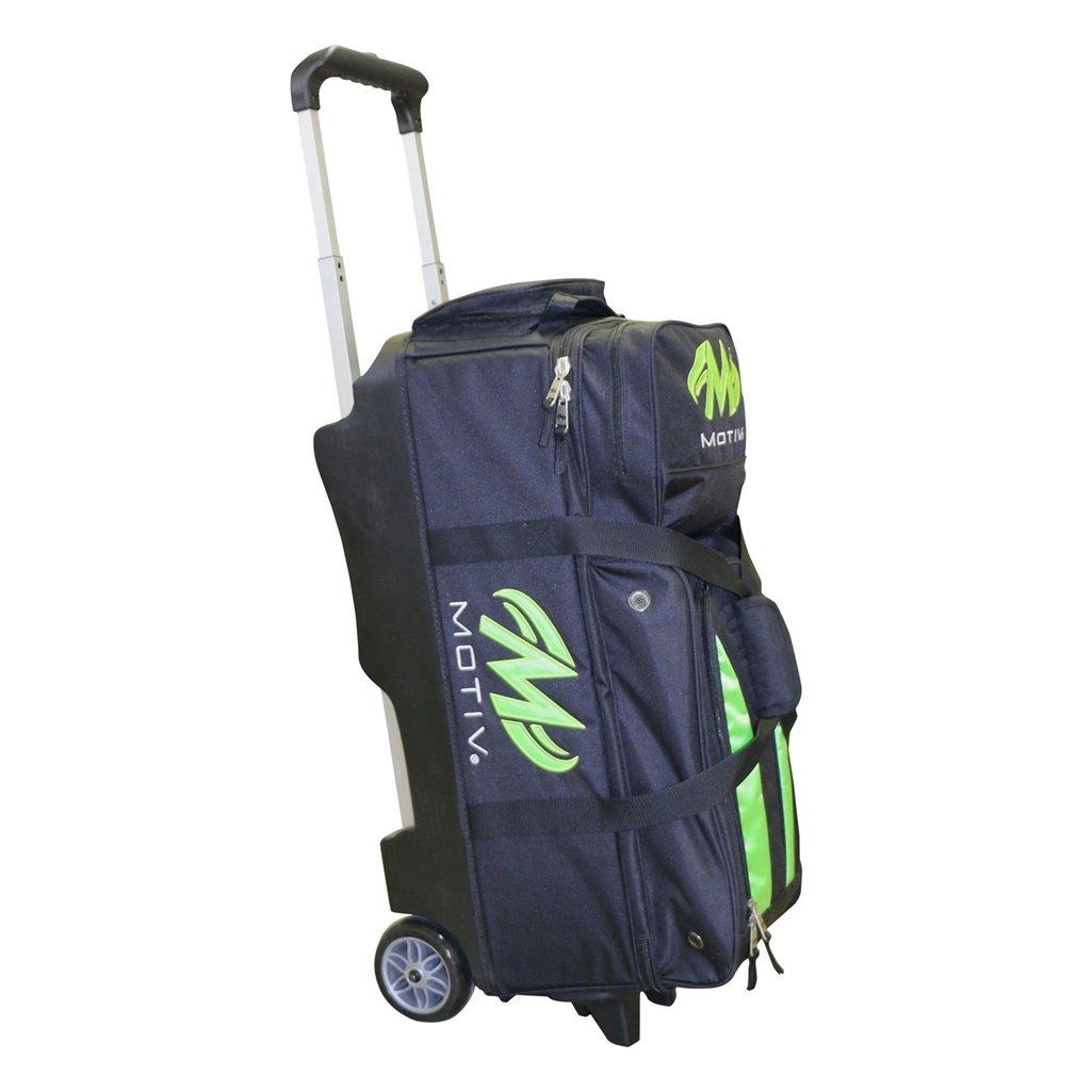 MOTIV Deluxe Triple Roller Bowling Bag- Black/Green ()