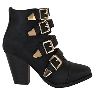 a6db77ea3cb SNJ Women's Lace up Fashion Collar Chunky Heel Ankle Bootie Trends Shoes