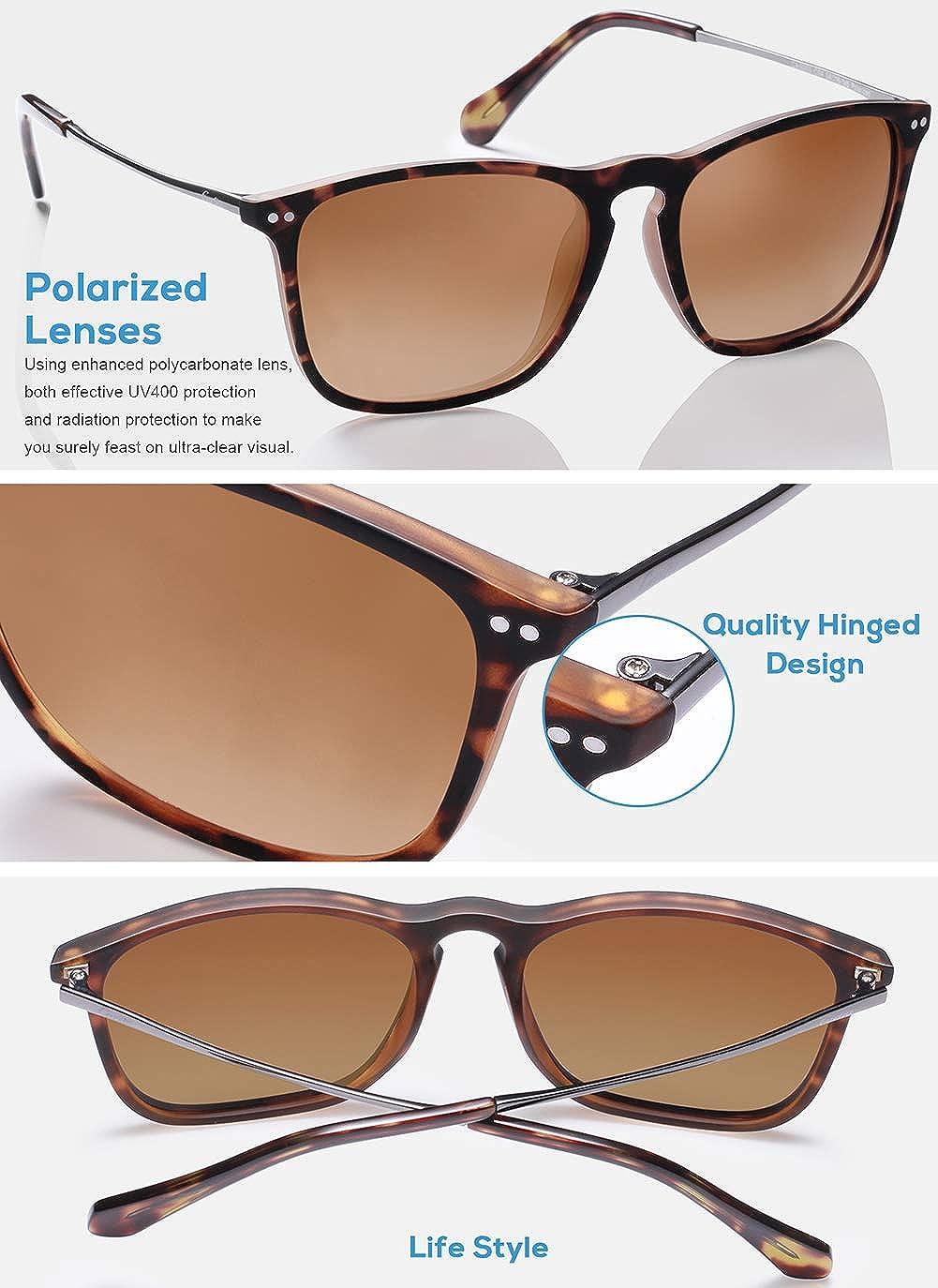 c82debdd09 Amazon.com  Carfia Vintage Polarized Sunglasses for Men