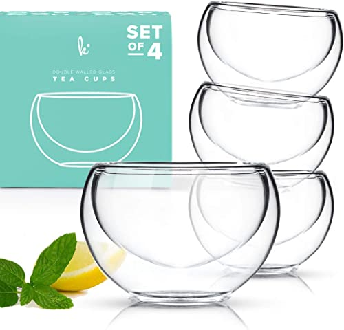 Kitchables  - Modern Double Wall Glass Insulated Tea Cups