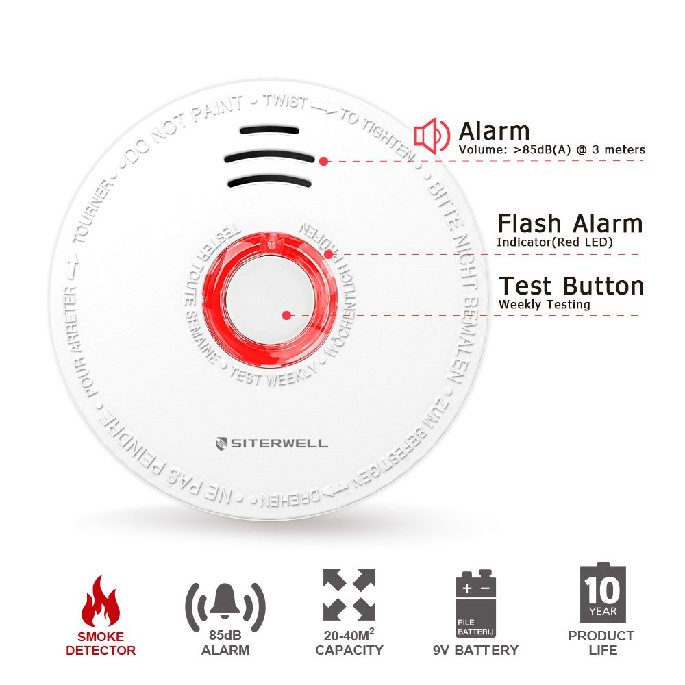 2 Pack Smoke Detector and Battery Operated Smoke and Fire Alarm 10 Years Photoelectric Smoke Alarm with UL Listed 9V Battery Included SITERWELL GS528A