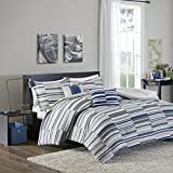 Intelligent Design Emmett Full/Queen Comforter Set Teen Boy Bedding - Navy, Grey, Stripes – 5 Piece Bed Sets – Ultra Soft Microfiber Bed Comforter
