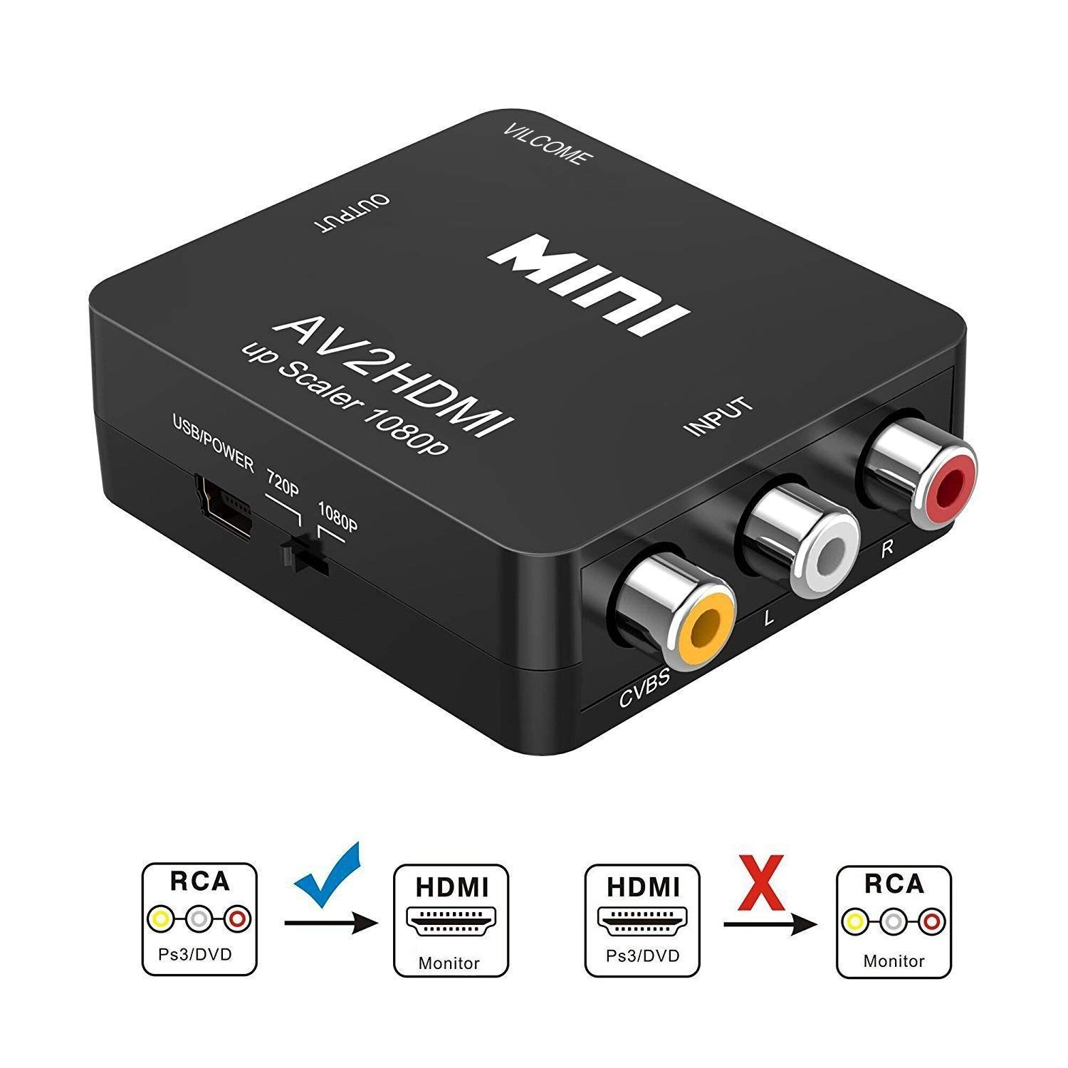 RCA to HDMI, AV to HDMI, Vilcome 1080P Mini RCA Composite CVBS AV to HDMI Video Audio Converter Adapter Supporting PAL/NTSC with USB Charge Cable for PC Laptop Xbox PS4 PS3 TV STB VHS VCR Camera DVD