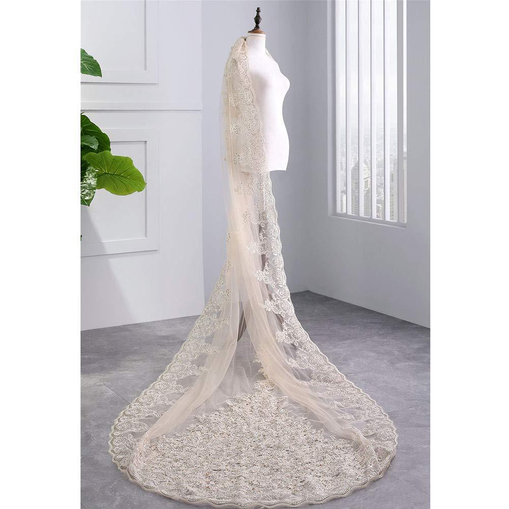 Zzyq Champagne Bridal Veil,Mopping Floor Lace Flower Edge Wedding Veil