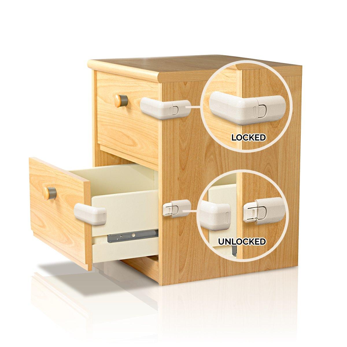 Cierre de Seguridad para Gabinetes Ajustable – Cerradura con Adhesivo 3M Extra Fuerte, Instalación Fácil para Muebles – Seguro Infantil para Cajones, ...