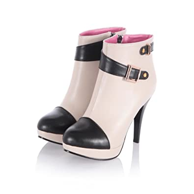 Womens Closed Round Toe High Heels PU Short Plush Assorted Colors Boots with Rivet and Metal