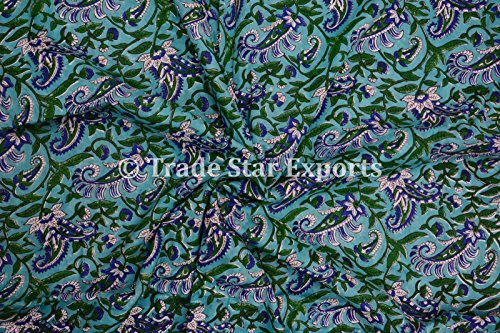 3 Yard Hand Block Printed Fabric, Cotton Voile Floral Print Fabric for Sewing,Crafting, Dressmaking, Running Natural Dye Sanganeri Indian Fabric By the Yard Width 44 Inches (Pattern 9) - Printed Voile