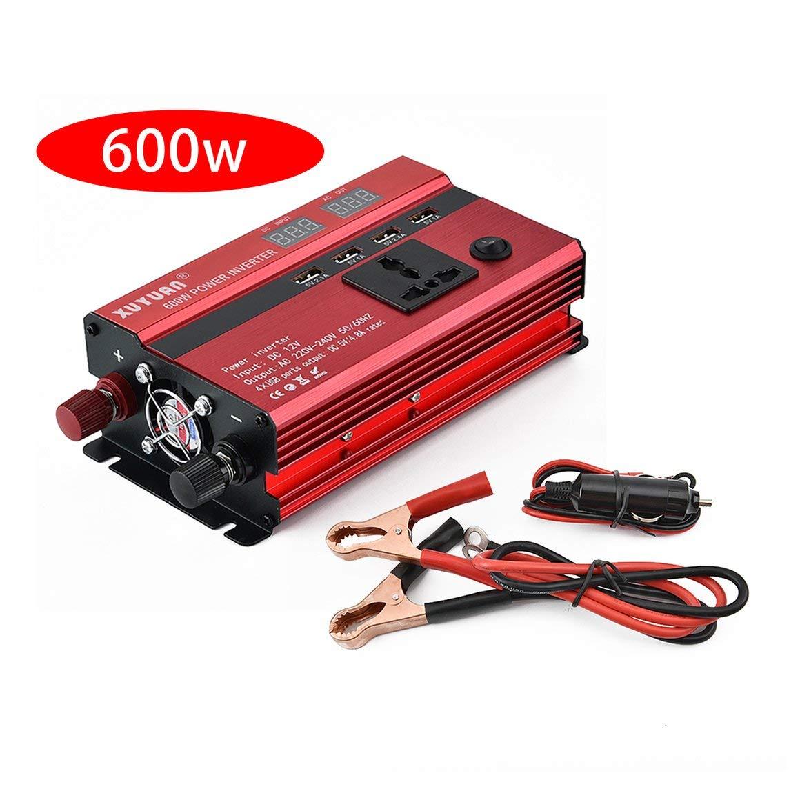 Funnyrunstore Professional 600W Power Inverter DC a AC Pantalla LED Home Fan Cooling Car Converter para electrodomé sticos Plug and Play (24v-220v)