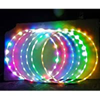 Sunshay LED Glow Sport Hoop Multicolor Hoop, Loose Weight Bodybuilding Fitness Hoops Toy, Multi-Size Light Up Sports Hoops for Adults Kids(60/70/80/90CM)