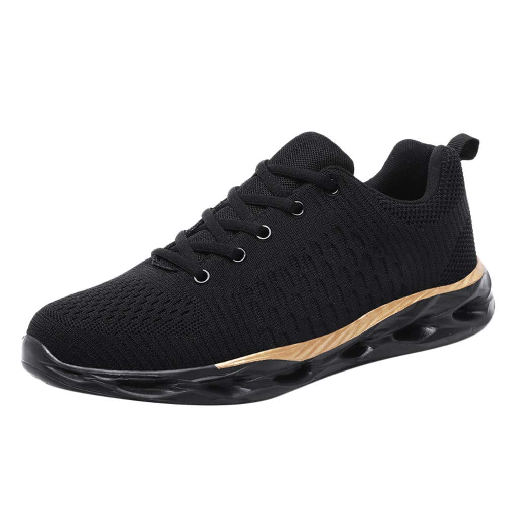 Uscharm Men's Tennis Shoes Walking Running Fashion Sneakers Mesh Breathable Casual Sport Lightwight Lace Up Shoes(Gold,7) by Uscharm