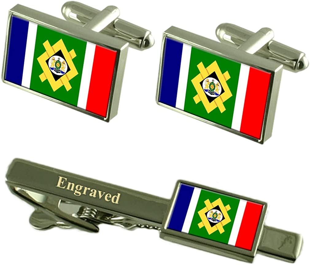 Johannesburg City South Africa Flag Cufflinks Engraved Tie Clip Set