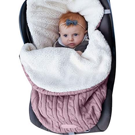 Manta Swaddle Envoltura Bebé Recién Nacido Nibesser Manta de Punto Grueso Suave y Cálida Manta Saco de Dormir Envoltura de Cochecito para Niños ...