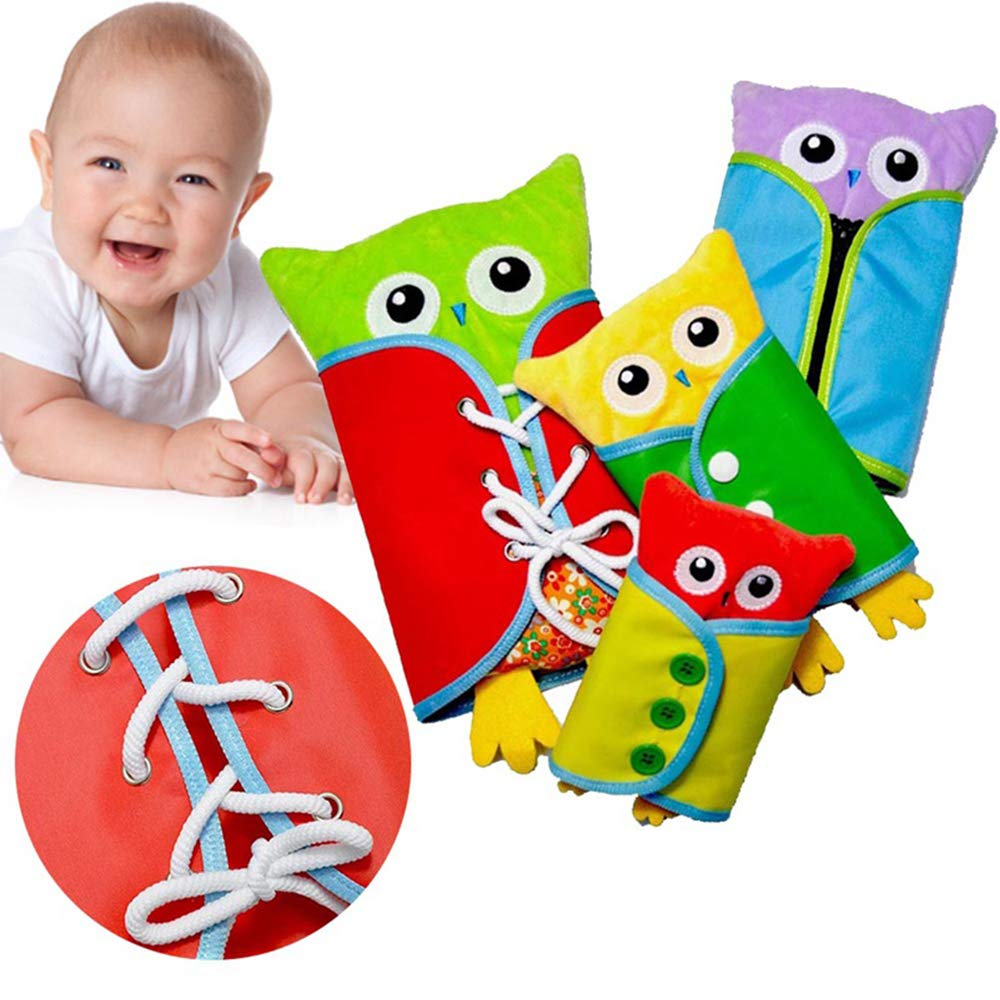 Learn to Dress Early Learning Basic Life Skills Owl Shape Learn to Dress Boards Zip Snap Button Buckle Lace Tie 4 pcs Set
