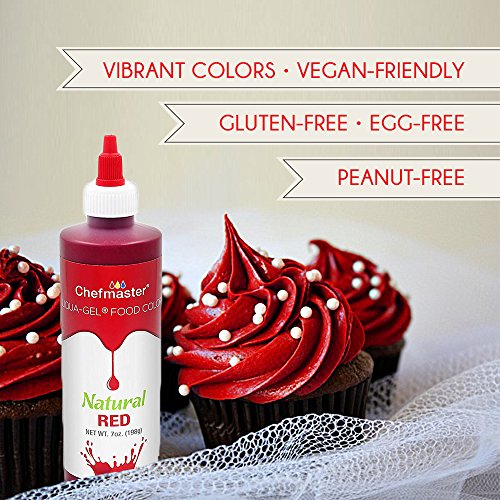 Chefmaster Liqua Gel All Natural Food Coloring for Baking, 7oz Liquid Coloring Gel, Vibrant Red Food Color for Easter, Christmas & Other Holidays, Bright Red for Easter Egg Coloring & Bath Bomb Making by Chefmaster (Image #2)