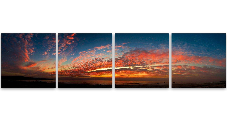 Feeby Frames, Leinwandbild, Bilder, Wand Bild - 4 Teile Teile Teile - Panoramabild, Wandbilder, Kunstdruck 50x200 cm, AUSSICHT, WOLKEN, WASSER, SEE, FARBEN, ORANGE, BLAU 5ec230