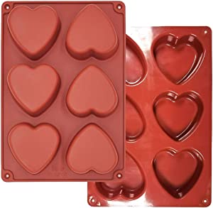 Heart Silicone Molds 6 Holes - 6-Cavity Heart Shaped Silicone Mold Resin Making Kit Larger Thicker Valentine's Day for Hot Chocolate Bombs 3 Inch Cake (2, Heart)