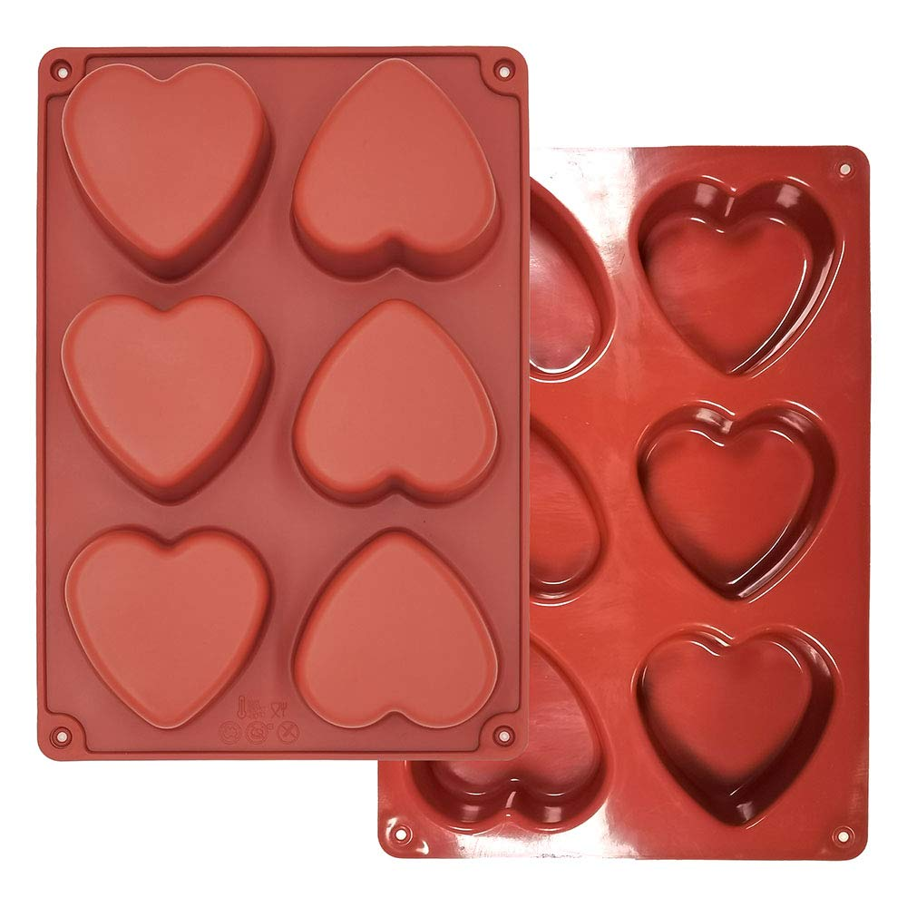 Heart Silicone Molds 6 Holes - 6-Cavity Heart Shaped Silicone Mold Resin Making Kit Larger Thicker Mother's Day for Hot Chocolate Bombs 3 Inch Cake (2, Heart)