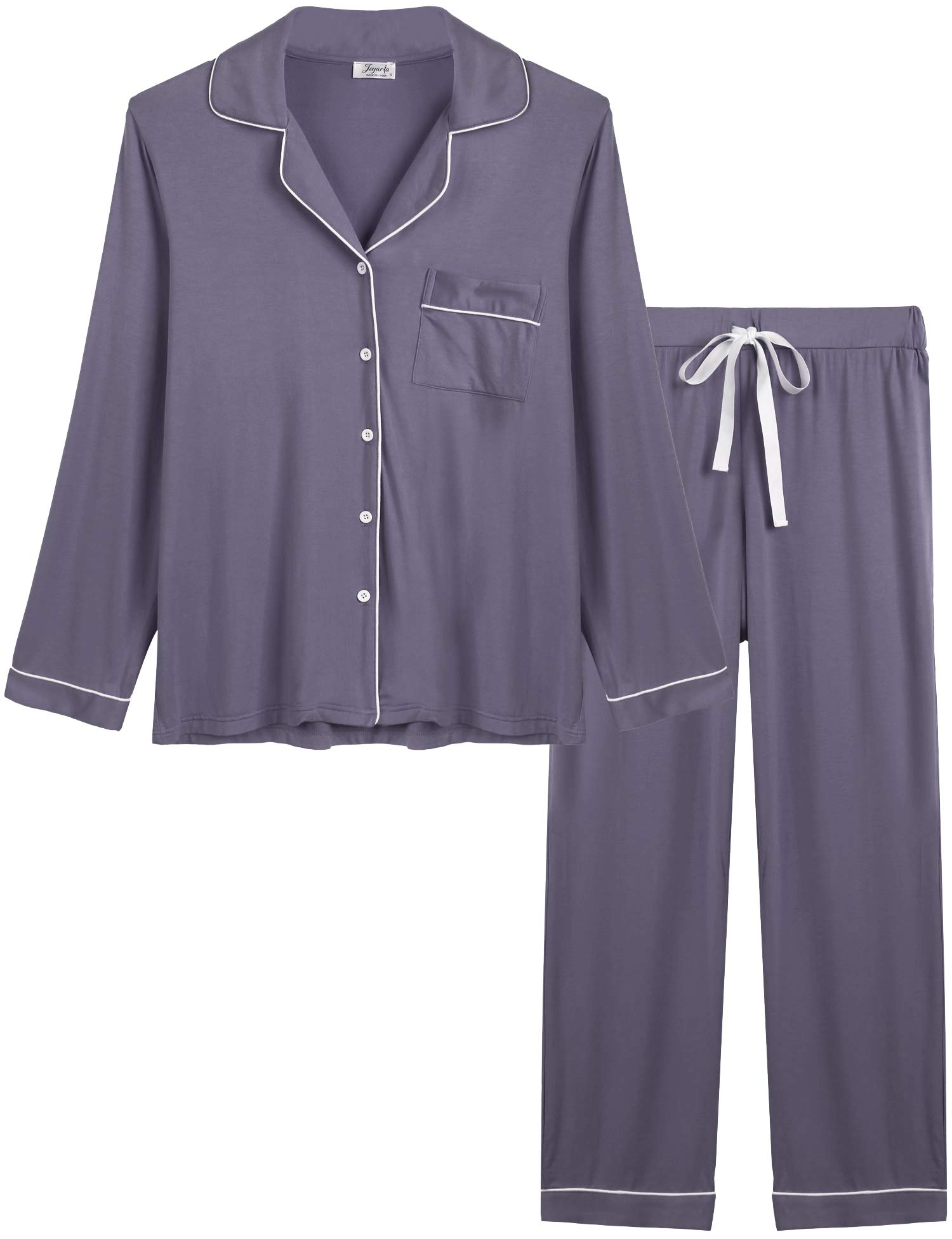 Joyaria Womens Soft Bamboo Pajama Sets Button Down Long Sleeve Pj Pants Set  Sleepwear product image cb785af79