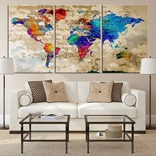 Rainbow Colorful World Map Wall Art, Old World Map Canvas, World Map Print, World Map Poster, World Map Art, World Map Push Pin