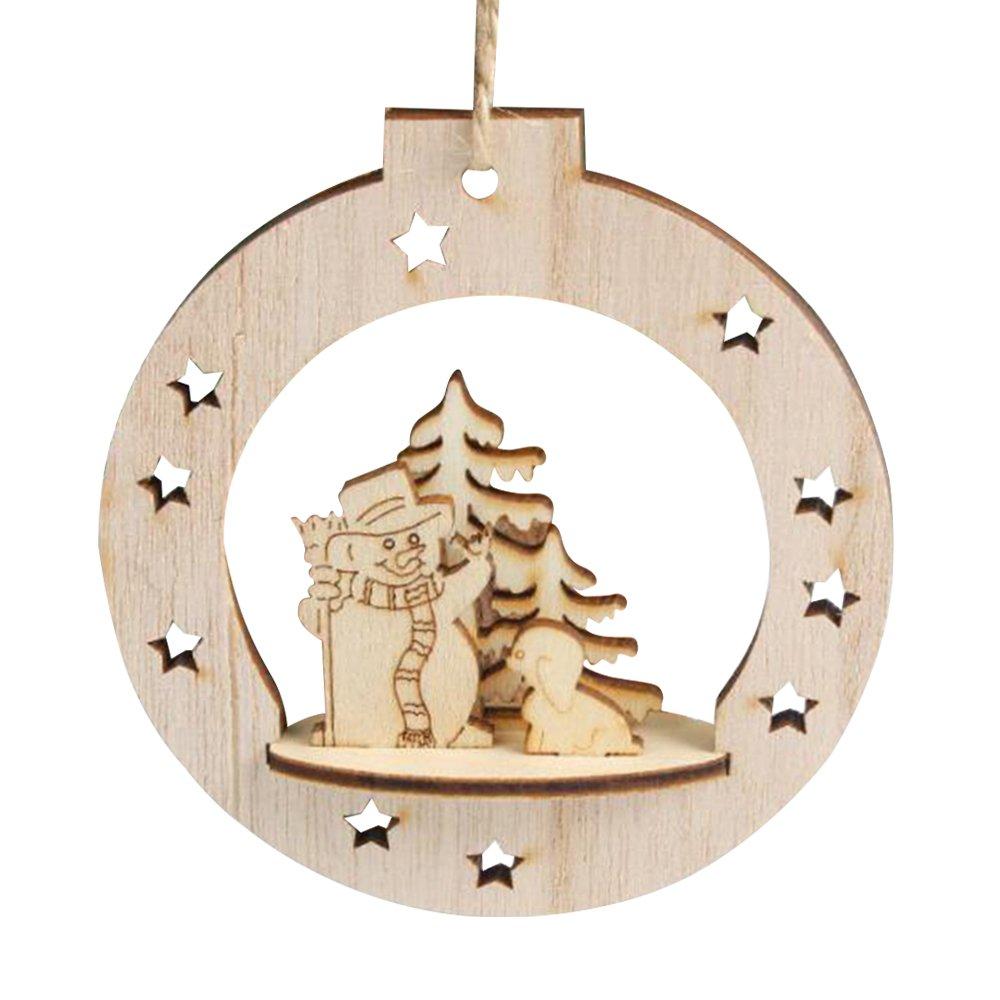 Takefuns Fiocco di neve palle di Natale legno rustico ornamento di Natale 10pz Décor da appendere all' albero di Natale appeso ornamenti in legno decorativi, Legno, A1+a2+a3, A1+A2+A3