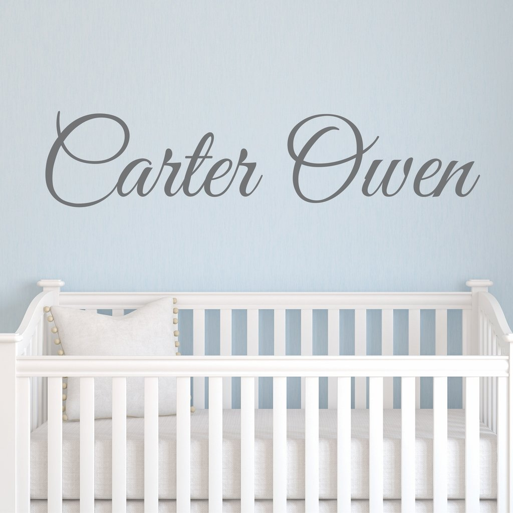 Boys Nursery Personalized Custom Name Vinyl Wall Art Decal Sticker 50'' W, Boy Name Decal, Boys Name, Nursery Name, Boys Name Decor Wall Decals, Boy's Bedroom Decor, Plus Free 12'' Hello Door Decal by Decor Designs Decals