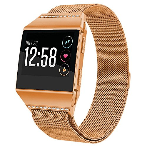 hooroor for Fitbit Ionic Bands Small and Large for Women Men, Fully Magnetic Closure Clasp Mesh Loop Milanese Stainless Steel Metal Band (Burnt Orange Band with White Diamond, Small) by hooroor