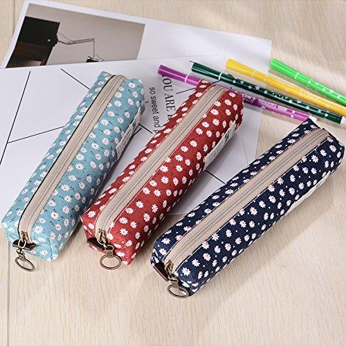 Premium Cute Floral Flower Rectangle Felt Student Pen Pencils Case Coin Purse Pouch Cosmetic Makeup Bags with Zipper, 3 Pieces