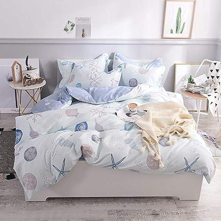 LOIKHGV Juego de cama de 4 piezas,Juego de sábanas 100% algodón doble queen king