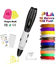 3D Pen with LCD Display, Fede 3D Drawing Printing Printer Pen, Non-Clogging 3D pen with 12 Colors 132 Feet PLA Filament, PVC Drawing Board + 3D Drawing Stencils for Kids, Adults