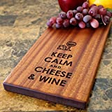 Premium Wine and Cheese Sapele Cutting Board Gift Set in Elegant Wrapping for Wine Lovers. Unique Wedding or Anniversary Gift - Cool Funny Present Idea For Housewarming, Birthdays or Corporate Events.