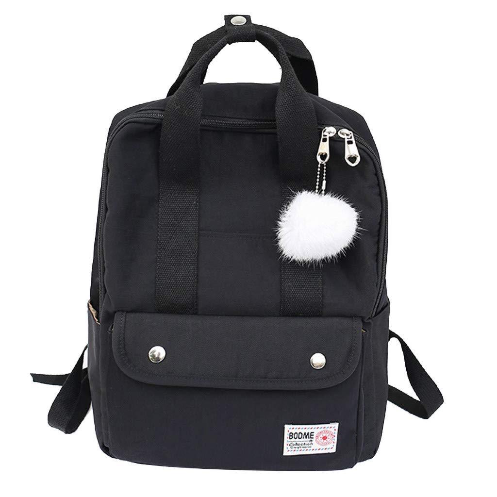Xlala Mens Womens Nylon Backpack Casual Zipper Waterproof Large Capacity Solid Color Schoolbag Single Shoulder Bags Laptop Packages Travel Packs Handbags (Black) by Xlala