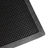 Iron Forge Tools Heavy Duty Fingertip Scraper Entrance Mat - 24 Inch by 32 Inch - Rubber Outdoor Sanitizing Floor Rug