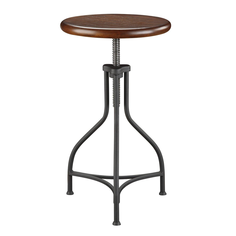 Carolina Chair and Table Adjustable Logan Metal Stool with Wood Seat