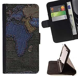 BullDog Case - FOR/Samsung Galaxy S5 V SM-G900 / - / africa continents map europe arabian peninsula /- Monedero de cuero de la PU Llevar cubierta de la caja con el ID Credit Card Slots Flip funda de cuer