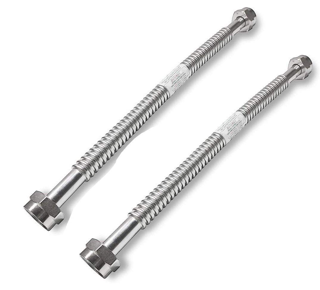 2 Pack Heavy Duty Durable Stainless Steel Corrugated Water Flex Connector with Extra Thick Washers for Water Heater and Water Softener (18x1 FIP)