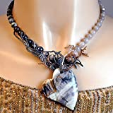 Picasso Jasper Necklace with Chiastolite, Moonstone and Chrysoberyl. Handcrafted; One of a Kind
